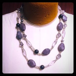 BOGO Vintage faux amethyst n crystal bead necklace